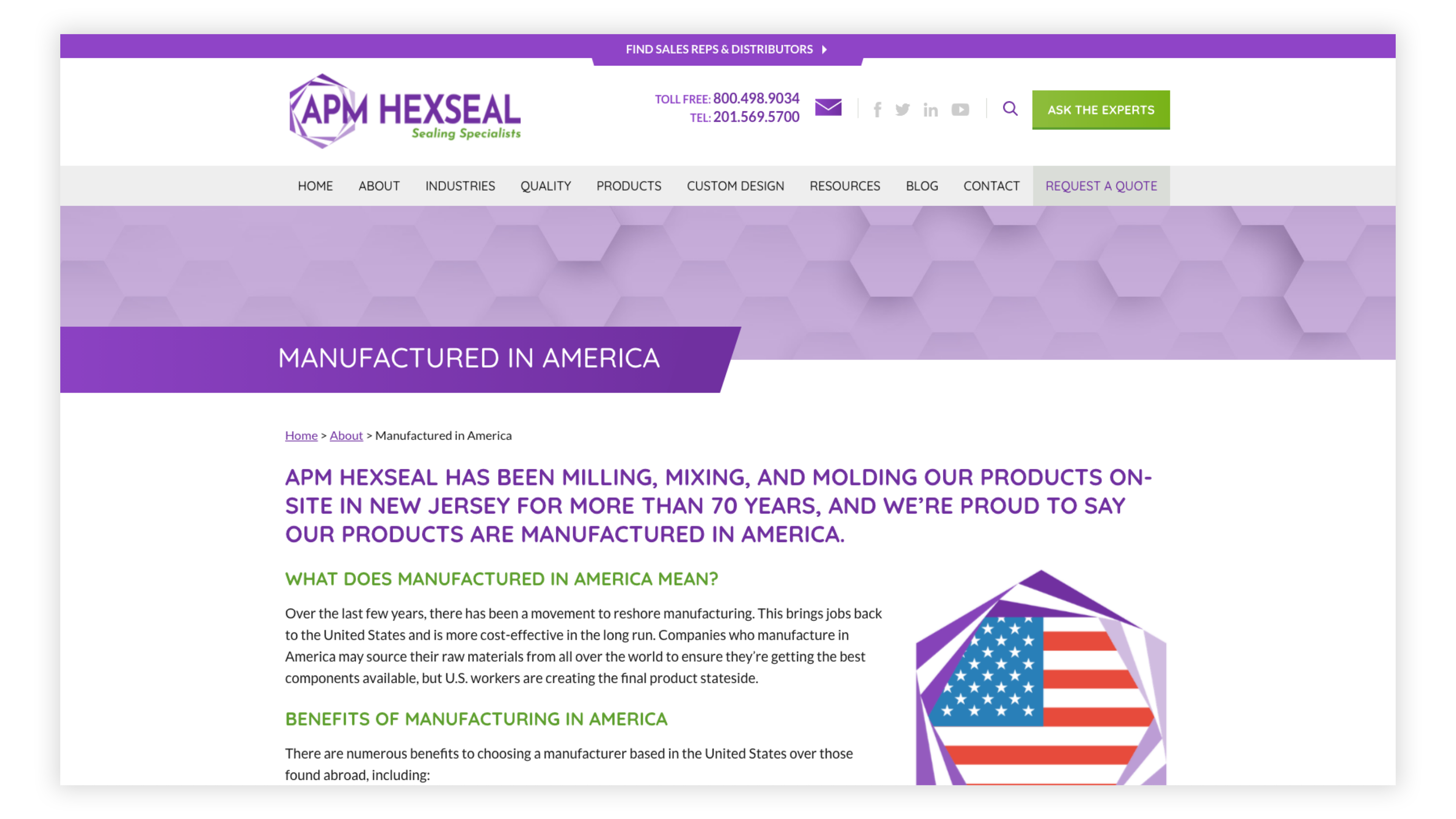 APM Hexseal About Us page