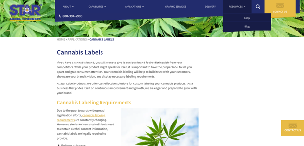 CBD Industry Cannabis Labels - Star Label Products Manufacturer