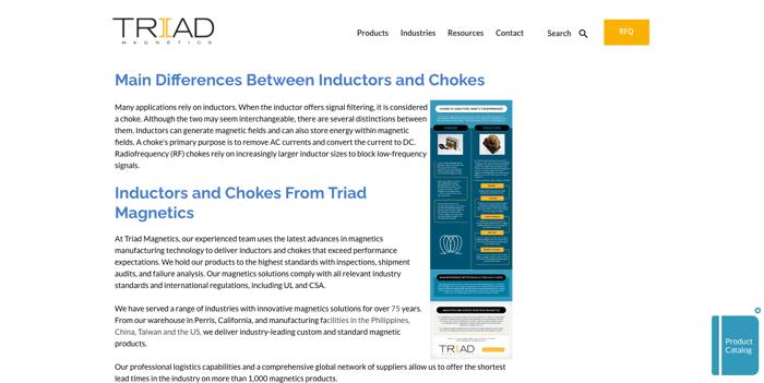 Triad Magnetics - Manufacturing blog topic idea example