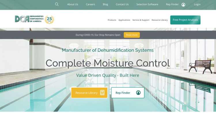 Dehumidifier Corp - Industrial Website Example