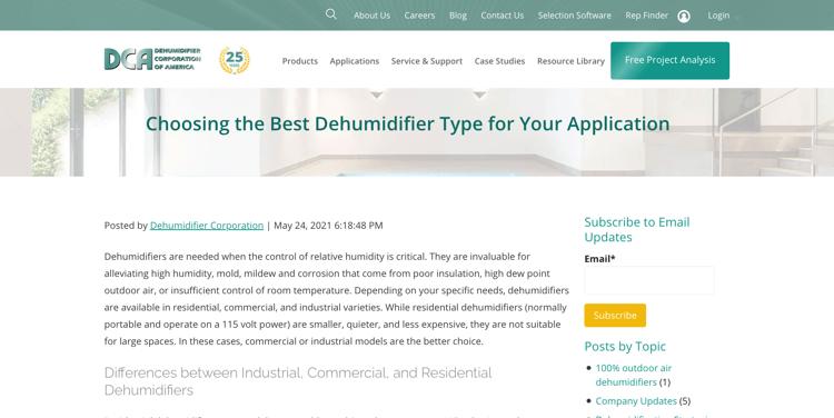 Dehumidifier Corp - Manufacturing blog topic idea example