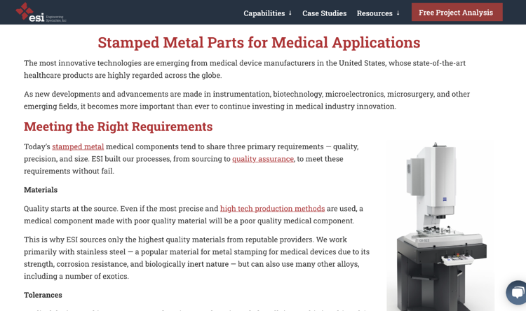 ESI Medical Device Industry Website example - opportunities in medical device manufacturing