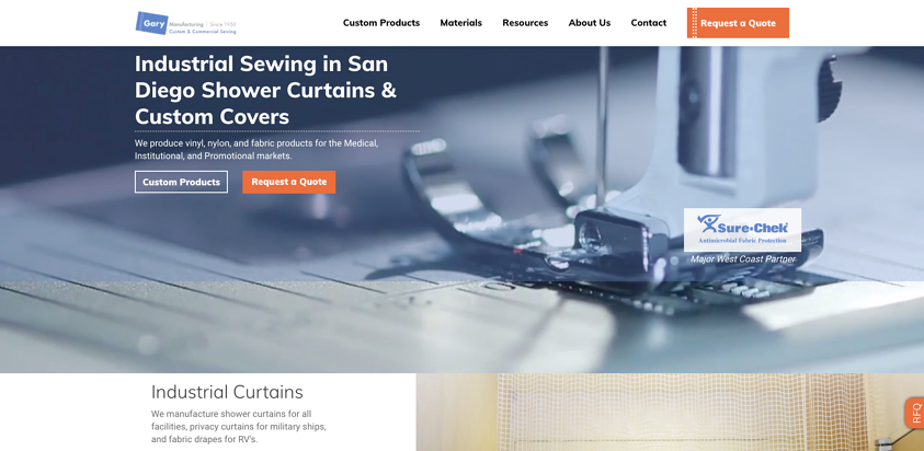 Gary Manufacturing website example