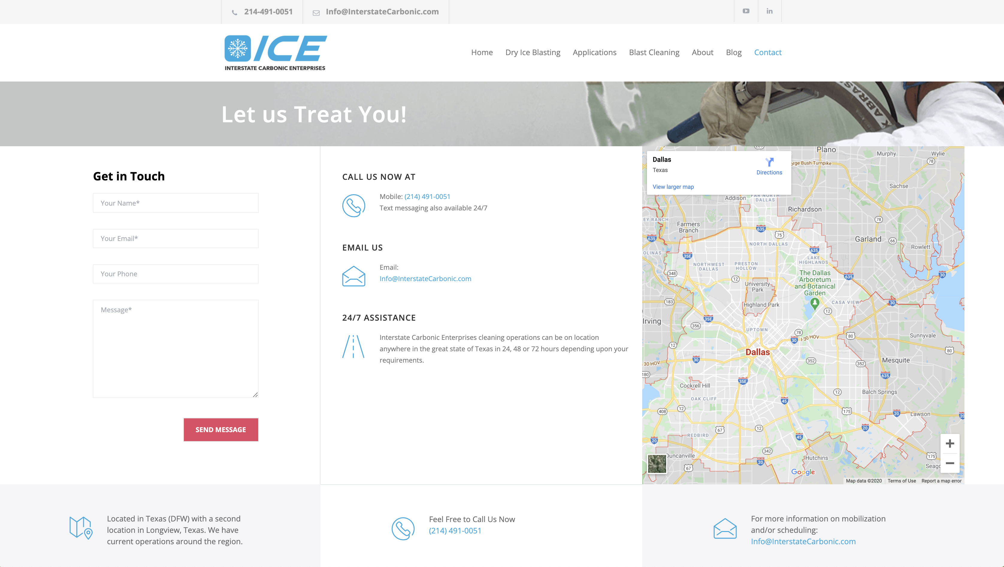 ICE Contact Us Page for local buyers