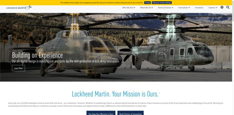 Industrial Website Design Example - Lockheed-Martin
