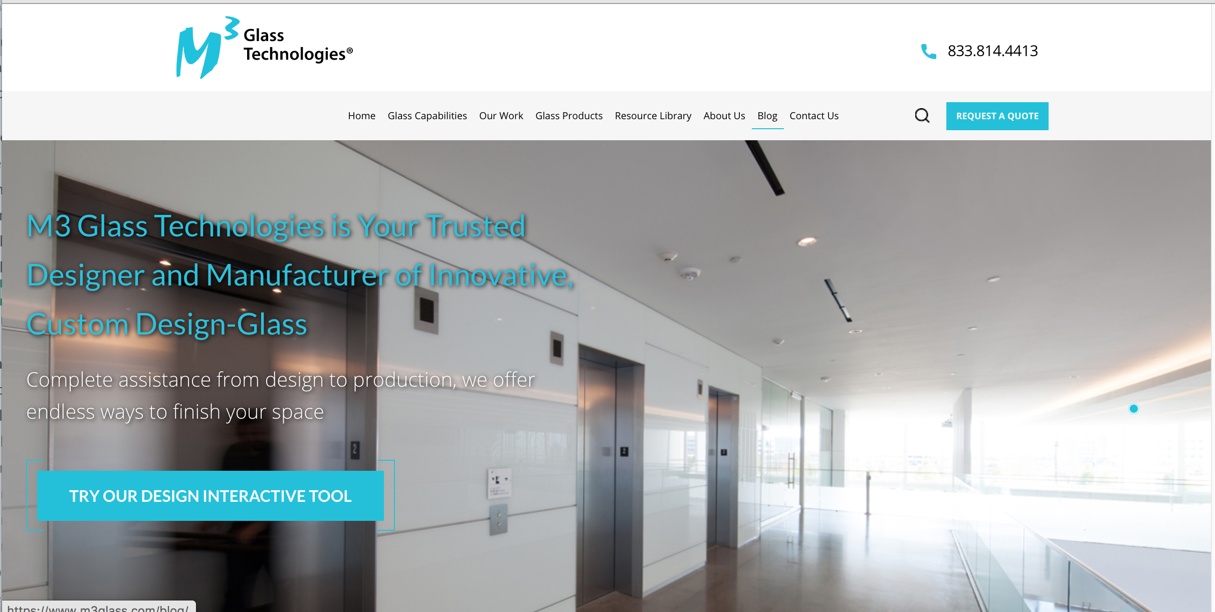 M3 glass technologies - Industrial Website Example