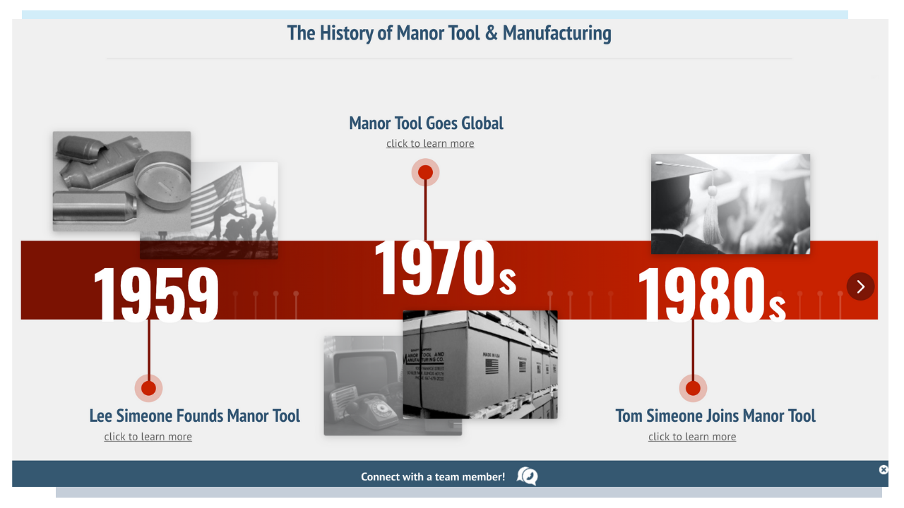 Manor Tool - Interactive Graphic Website About Us Page Example For Manufacturers