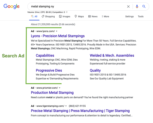 Metal Stamping Search Ad