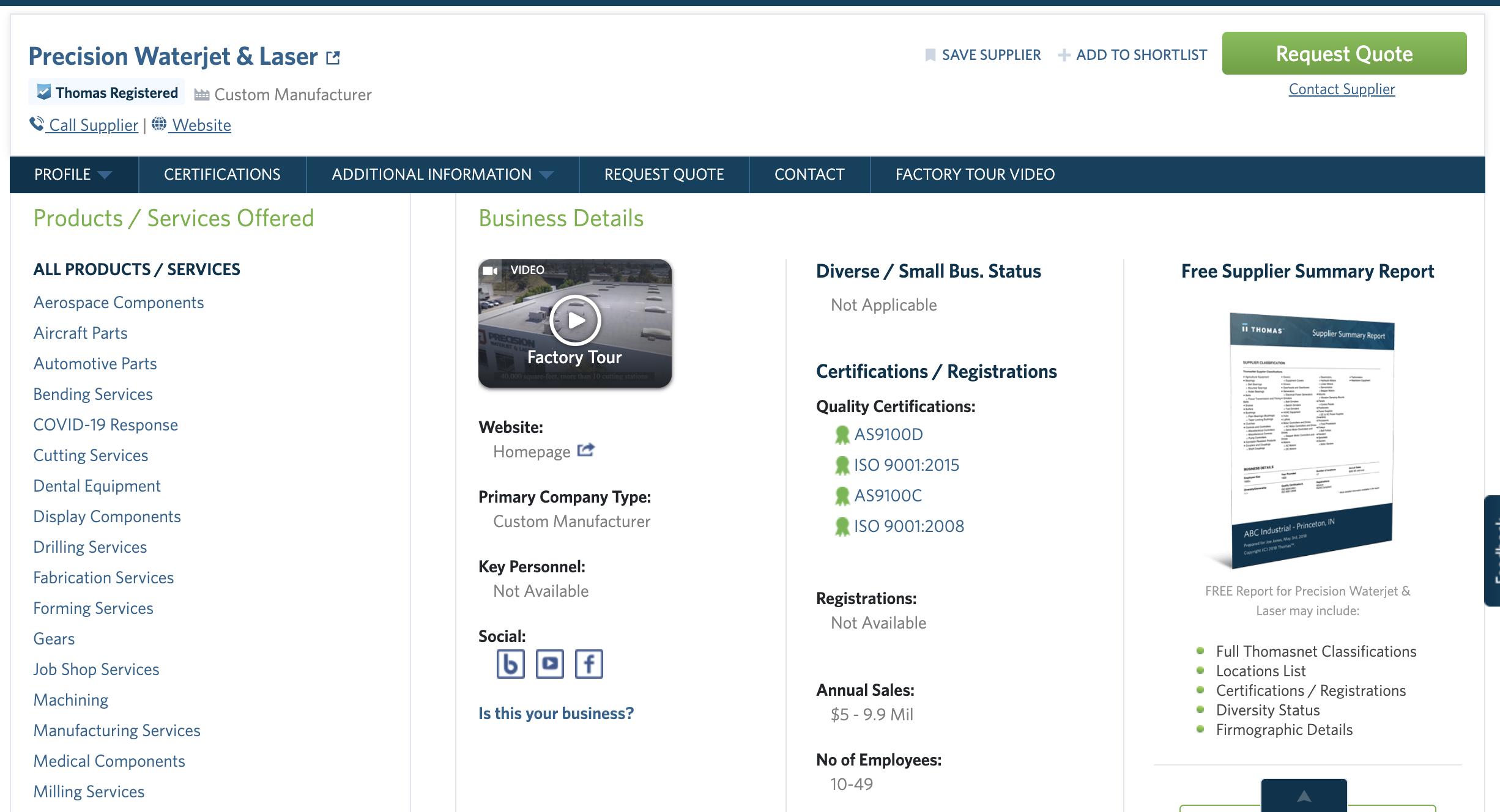 Precision Waterjet & Laser Thomasnet.com company profile