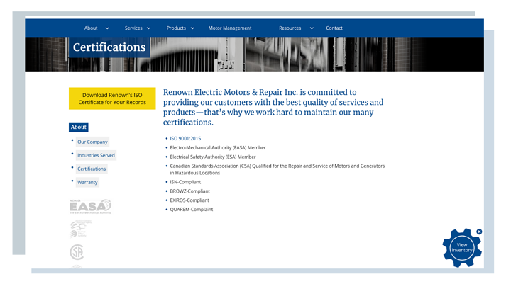 Renown Electric Website Example For Manufacturing Quality Certifications