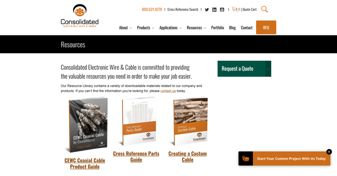 Resources Manufacturing Website Example - Consolidated Electronic Wire Cable - Manufacturers website