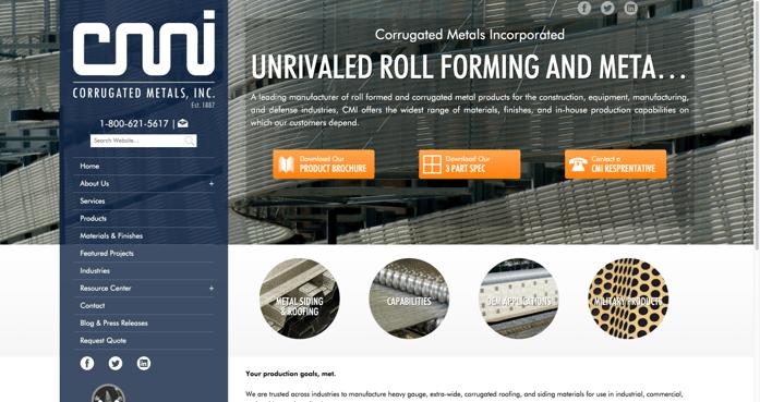 Corrugated Metals New Website After Inbound Marketing
