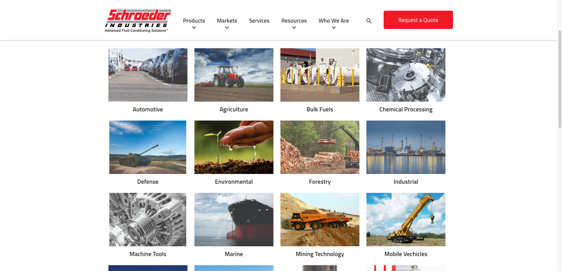Schroeder Industries - Industrial Distributor Website Example - Markets Served