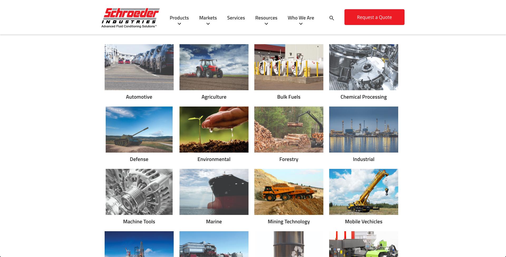 Schroeder Industries Market pages - website design