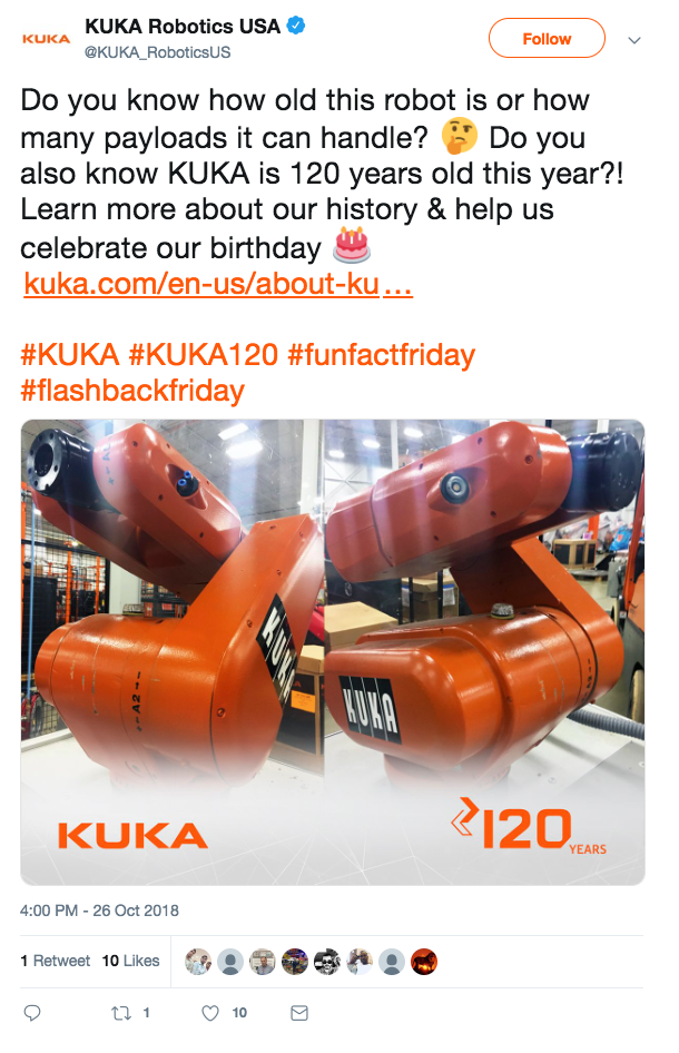 KUKA Robotics USA Twitter