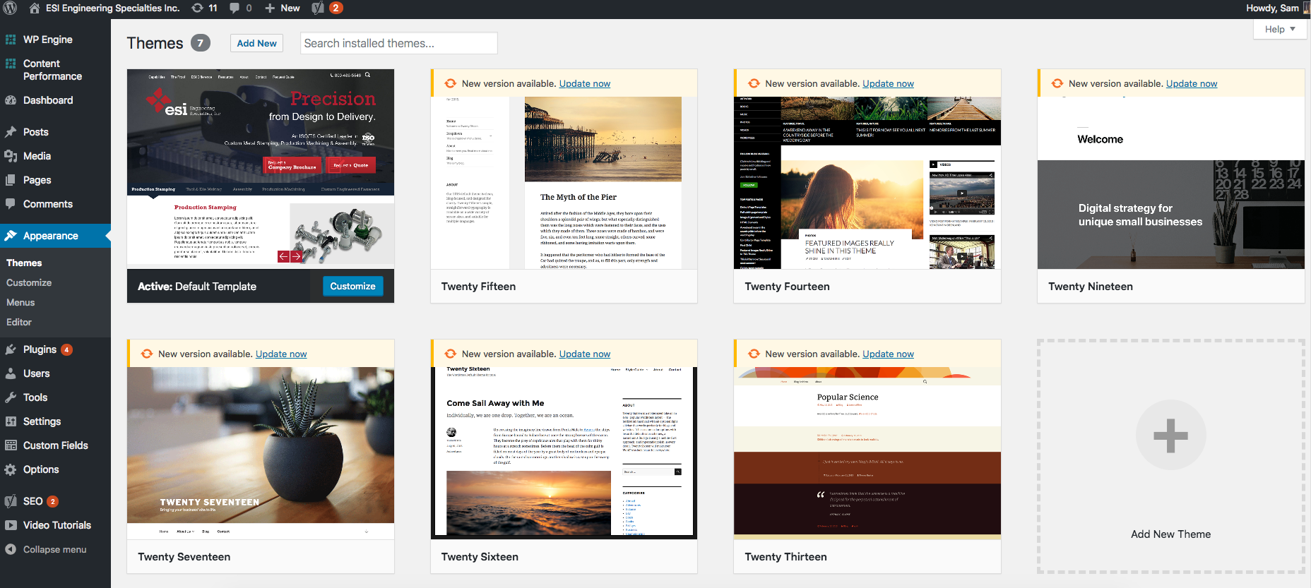 Customizable Templates On Wordpress