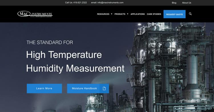 MAC Instruments - Industrial Website Example
