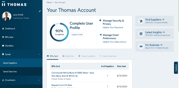 Thomas Account Dashboard