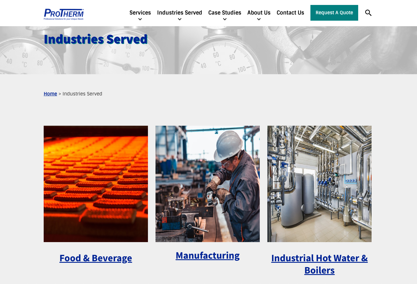 ProTherm Industries Served - HVAC digital marketing and advertising plan example
