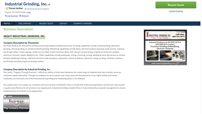 Industrial Grinding Thomasnet.com Company Profile Example - To Get More Customers