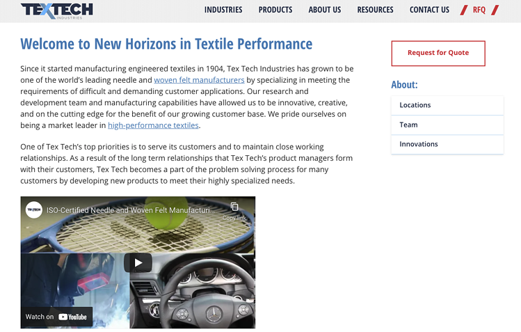 TexTech About Us Page Video Marketing Example