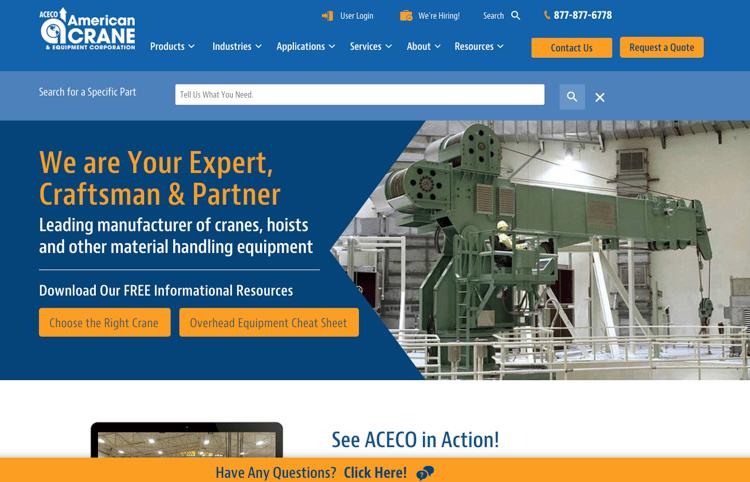 American Crane Website Example - how big companies choose new suppliers