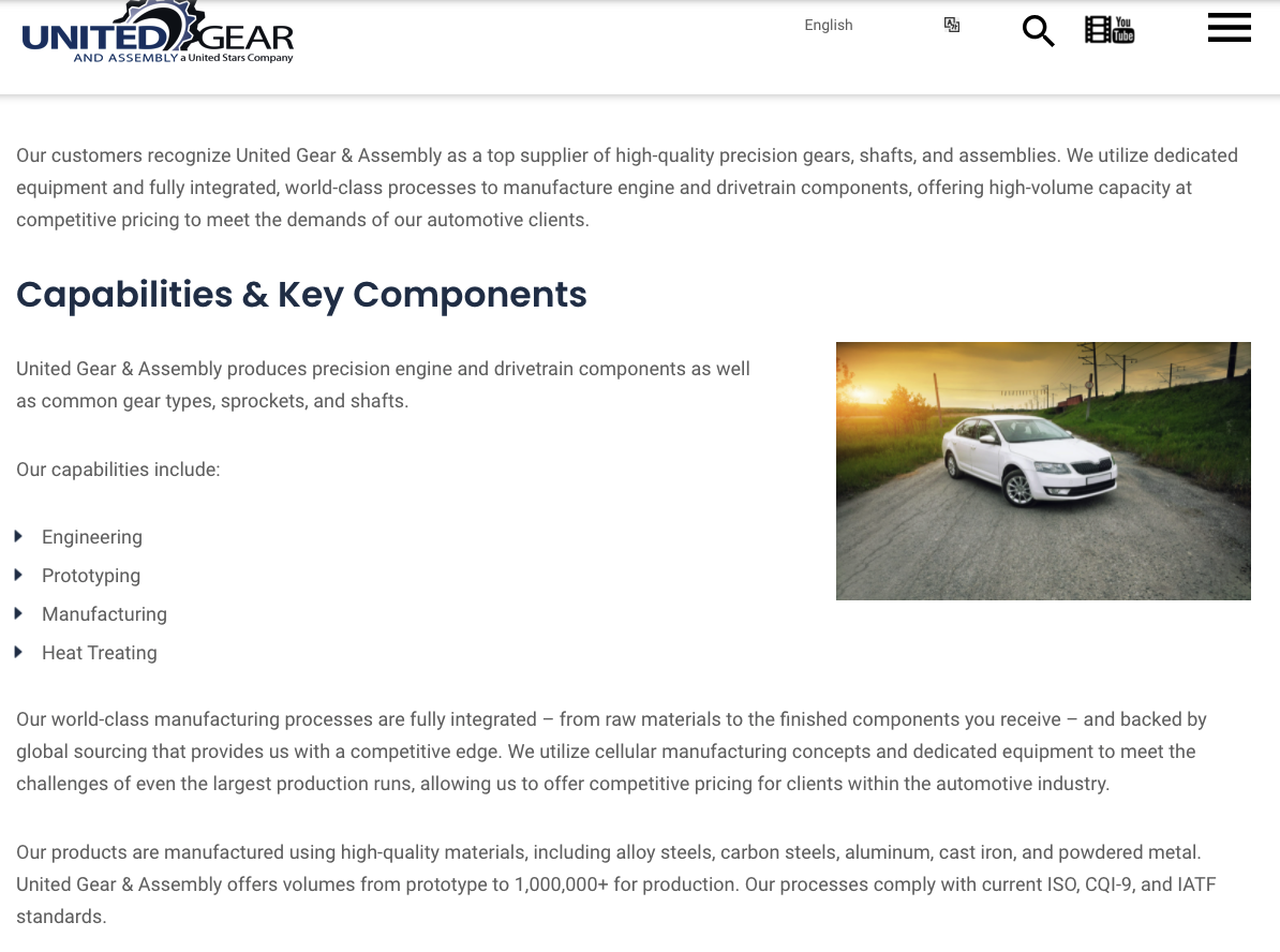 United Gear Assembly - OEM Website Design Example