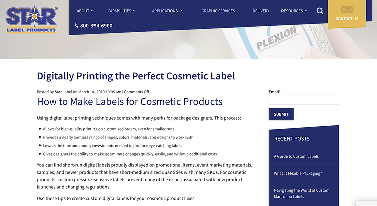 Star Label Products Manufacturing Blog - Industrial Marketing Content Idea