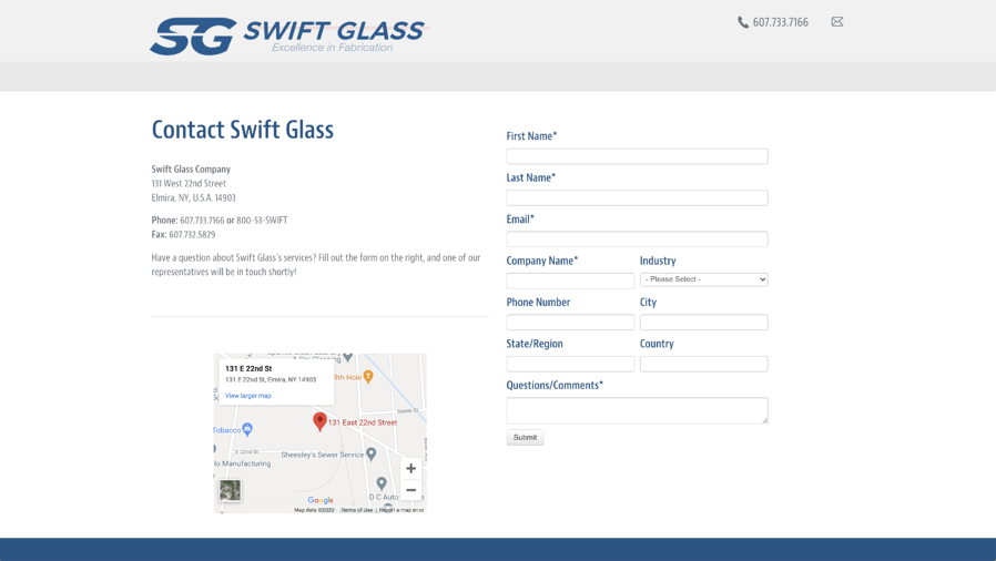 Swift Glass Contact Us Page