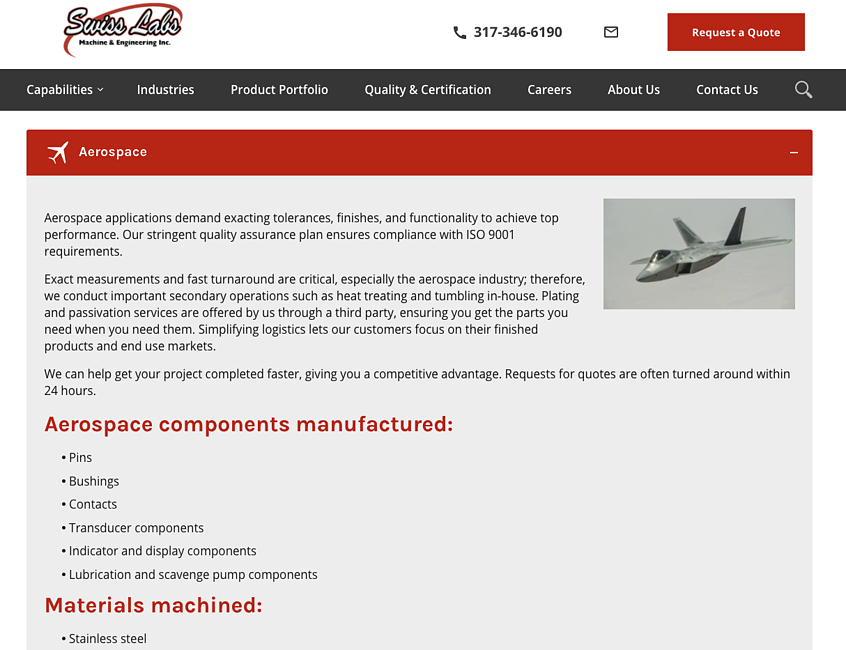 Swiss Labs Machining Content Marketing Digital Marketing Example - Get more customers for cnc machine shop