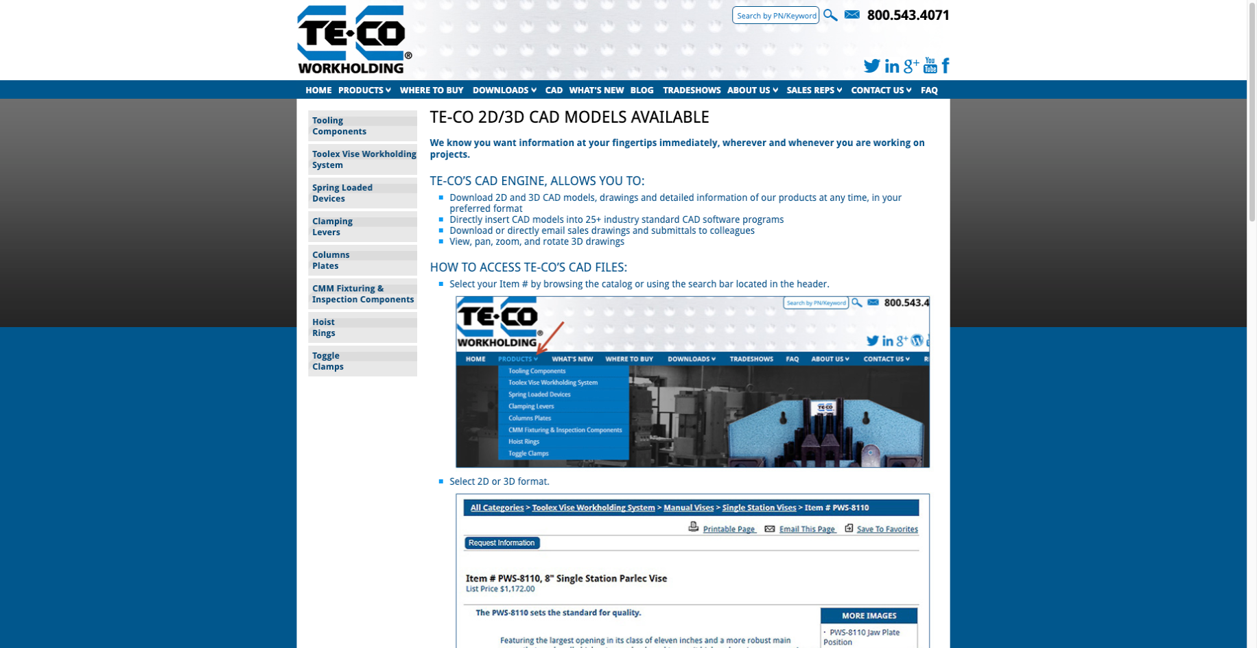 TECO Workholdings B2B eCommerce Website Example