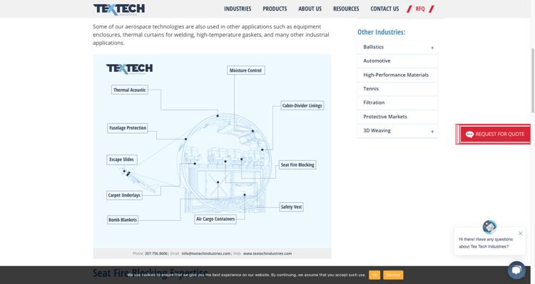 TexTech Aerospace website content - Content marketing for manufacturers