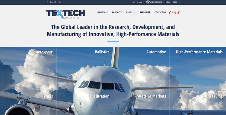 TexTech Homepage - manufacturing company website design