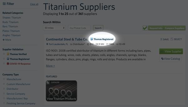 Titanium Suppliers Thomas Registered