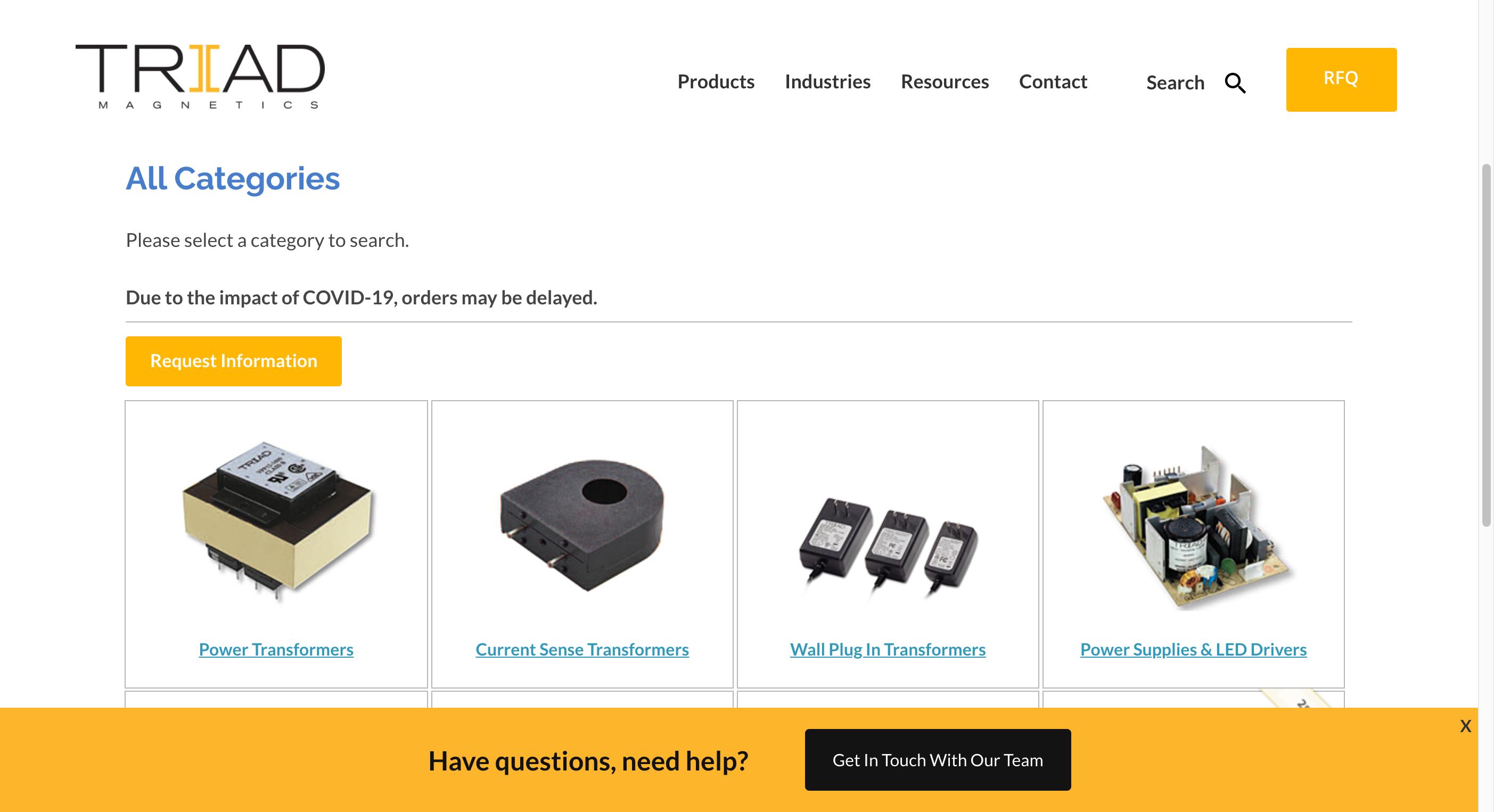 Triad Magnetics Lead Generating Website Manufacturing Product Catalog - OEM website design examples