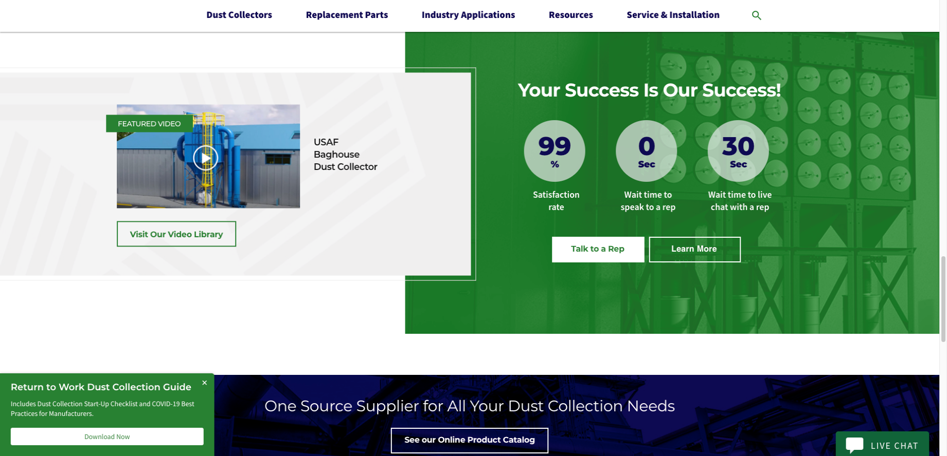 U.S. Air Filtration - Distributor Website Example - Customer Success