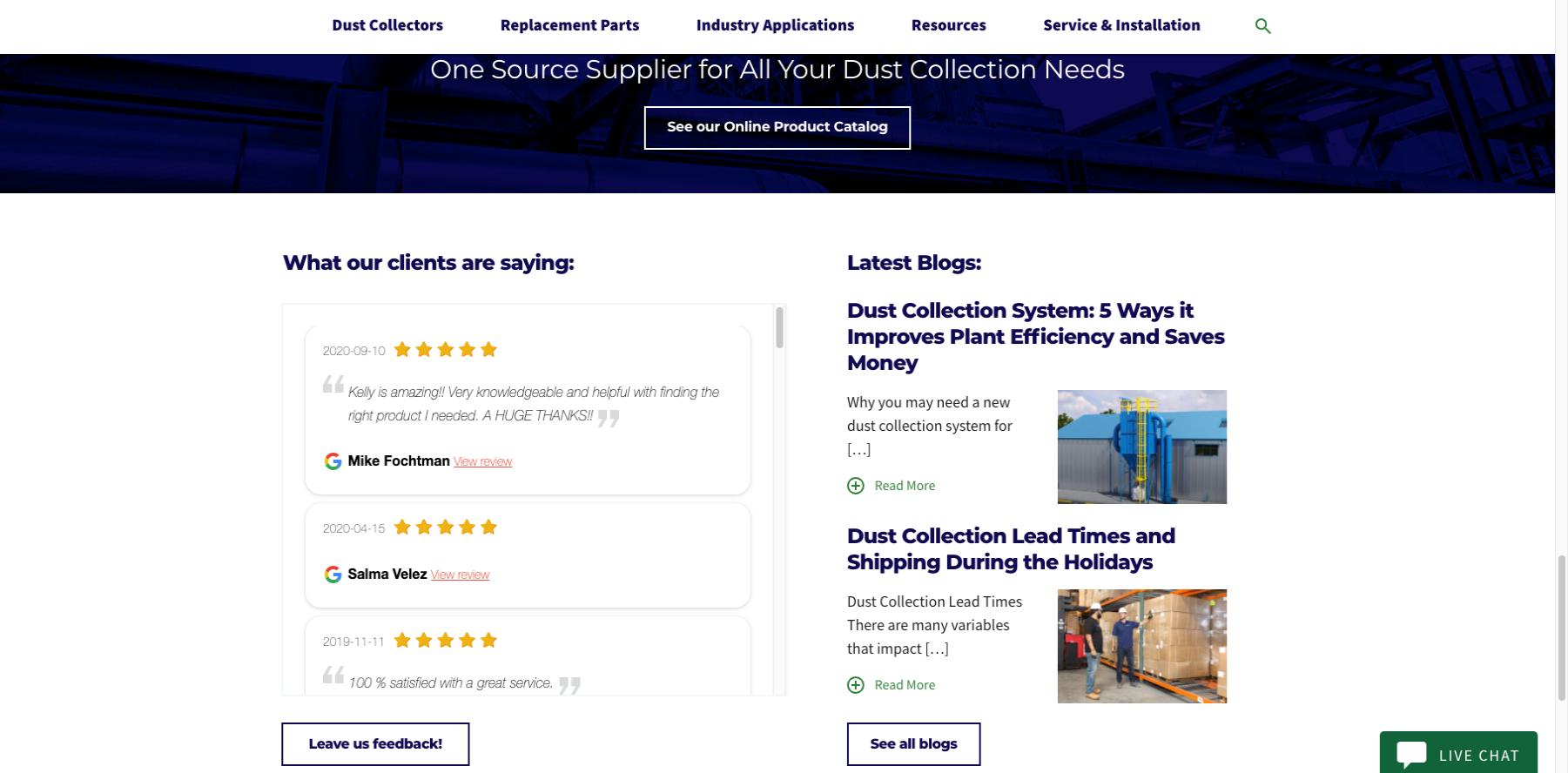 US Air Filtration Customer Feedback Website Example
