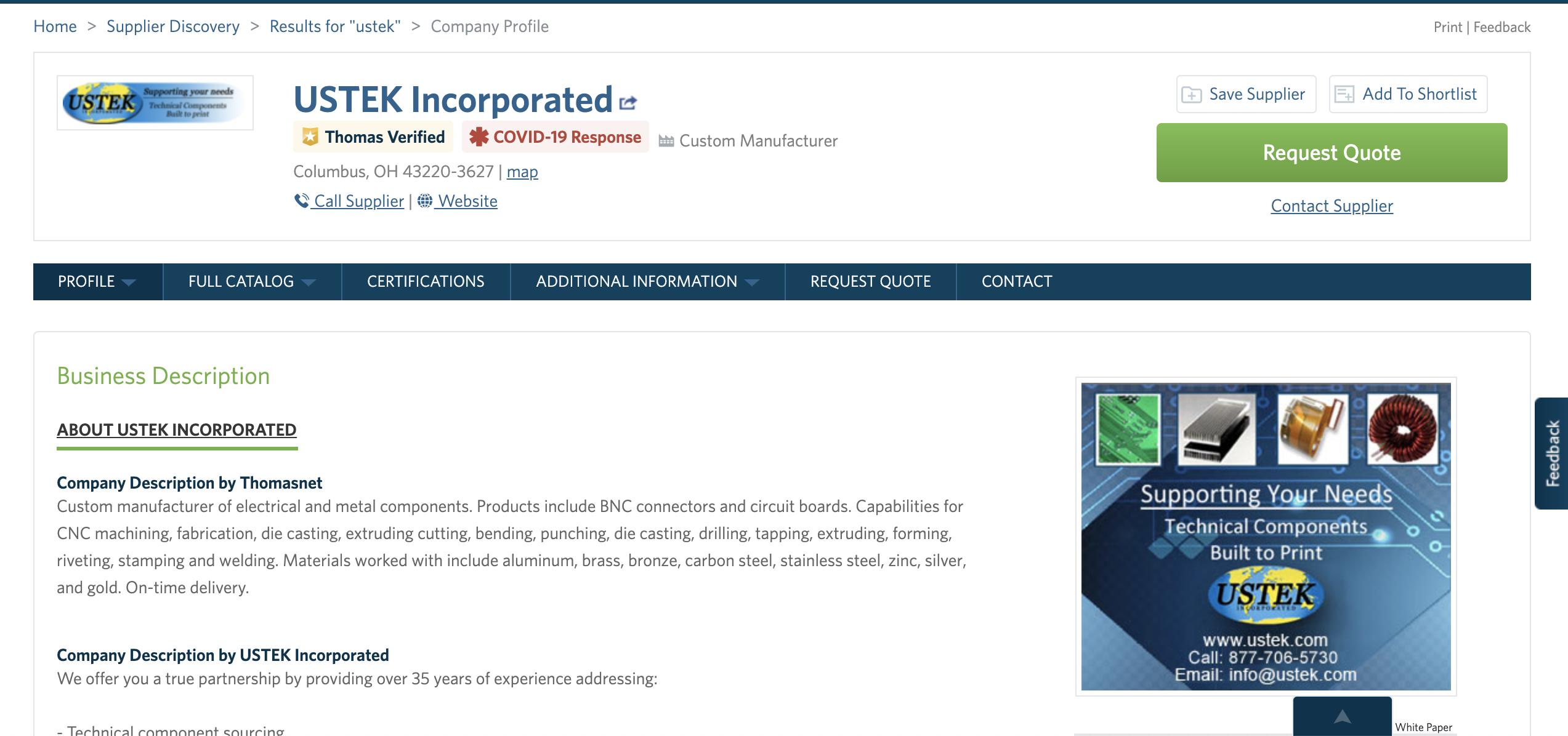 USTEK Incorporated Company Profile 2020