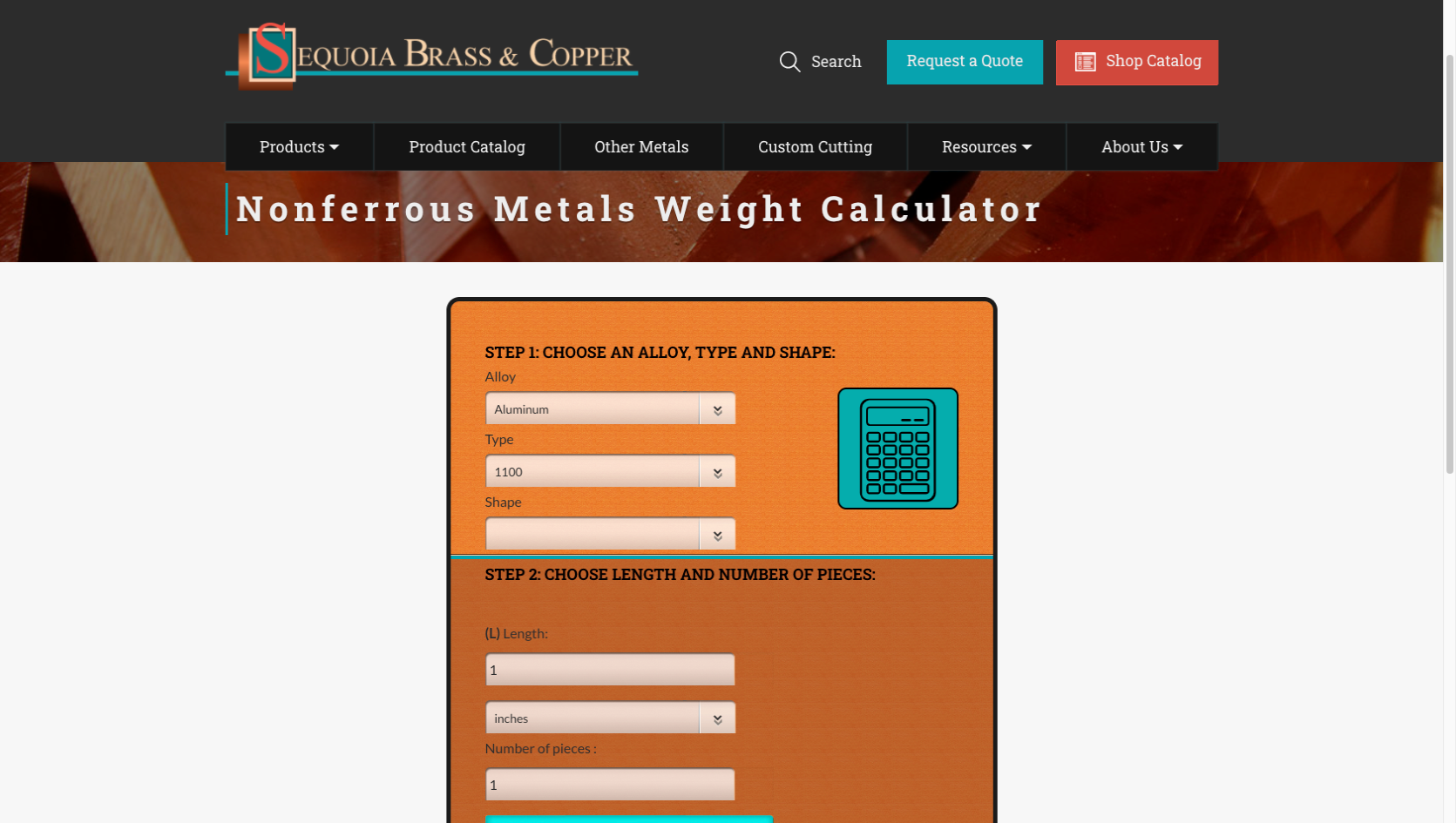 Weight Calculator Sequoia Brass Copper website example - Industrial Distributor