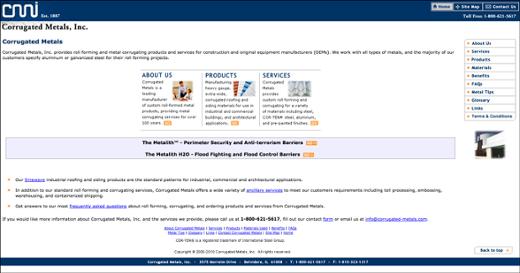 corrugated metals website before inbound marketing