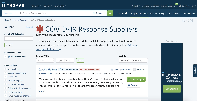 COVID-19 Response on Thomasnet.com